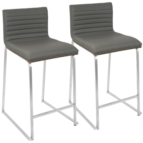 LumiSource Mara Stainless Steel Contemporary 26-inch Counter Stools (Set of 2)