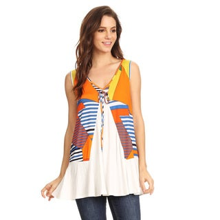 Women's Geometric Orange Pattern Rayon Blend Sleeveless Tunic