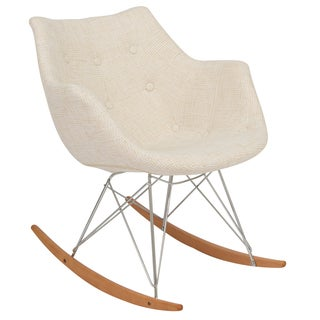 LeisureMod Willow Twill Fabric Eiffel Beige Rocking Chair