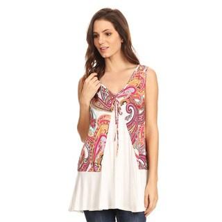 Women's Rayon and Spandex Sleeveless Paisley Pattern Top