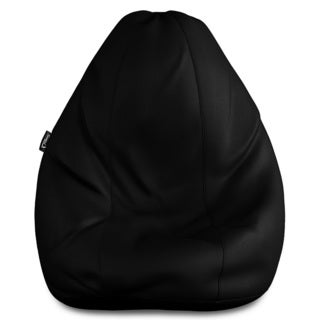 XXL Solid Black Leatherette Bean Bag Cover