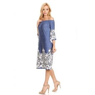 Women's Blue Mixed Denim and Crochet Lace Dress