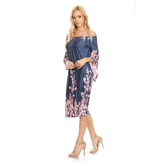 Women's Mixed Denim and Leaf Pattern Dress