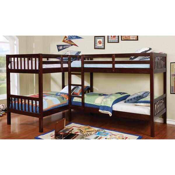 furniture of america lankton l shaped dark walnut quadruple twin bunk bed free shipping today. Black Bedroom Furniture Sets. Home Design Ideas