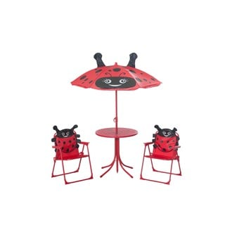 Sunjoy Ladybug Kiddy Bistro Set Made of Steel and Polyester, 20 Inches