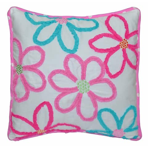 Mariah Floral Decorative Cotton Blend 18-inch Throw Pillow