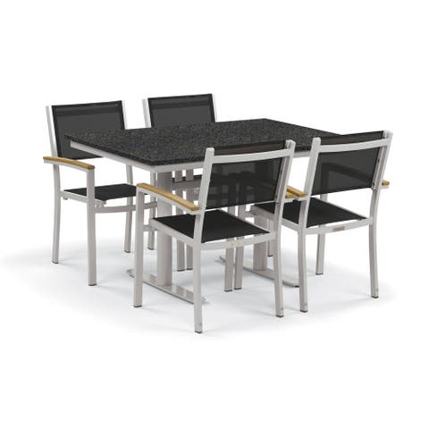 Oxford Garden Travira 5-Piece Bistro Set with 34-inch x 48-inch Lite-Core Charcoal Table - Natural Tekwood, Black Sling