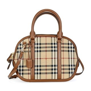 Burberry Orchard Small Honey and Tan Horseferry Check Satchel Handbag