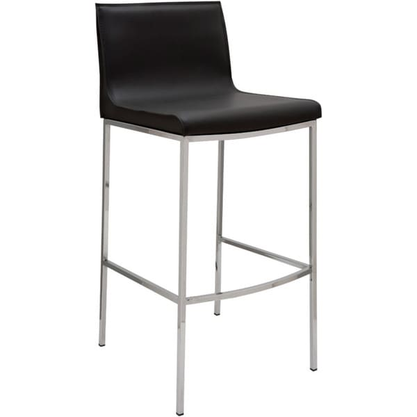 Shop Trendy Leather And Chrome Counter-height Stool