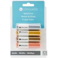 Silhouette Sketch Pens 4/Pkg-Metallic Gold, Copper, Silver & Bronze