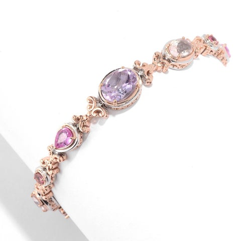 Michael Valitutti Palladium Silver Pink Amethyst & Multi Gemstone Bracelet