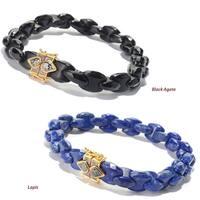 Michael Valitutti Palladium Silver Interlocking Gemstone Link Men's Bracelet with Magnetic Clasp