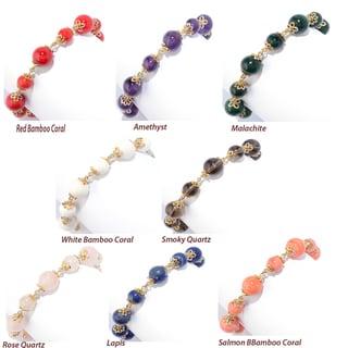 Michael Valitutti Palladium Silver Gemstone Bead & Tassel Adjustable Bracelet