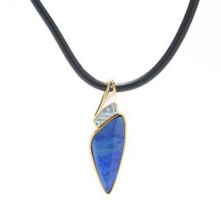 Michael Valitutti Palladium Silver Boulder Opal & Swiss Blue Topaz Men's Pendant w/ Cord
