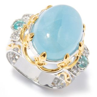 Michael Valitutti Palladium Silver Aquamarine, White Sapphire, and Apatite Ring