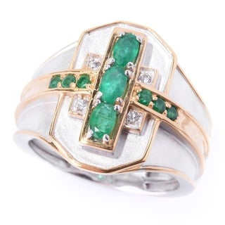 Michael Valitutti Palladium Silver Emerald & White Topaz Satin Finished Men's Ring