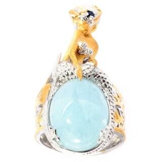 Michael Valitutti Palladium Silver Opaque Aquamarine & Blue Sapphire Sculpted Mermaid Ring