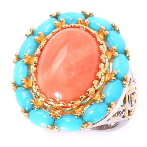 Michael Valitutti Palladium Silver Salmon Bamboo Coral & Sleeping Beauty Turquoise Ring