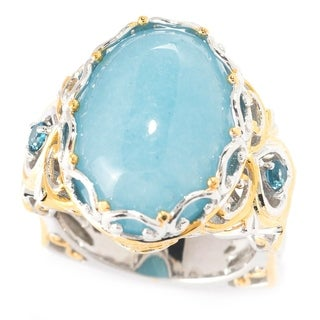 Michael Valitutti Palladium Silver Oval Opaque Aquamarine & London Blue Topaz Ring