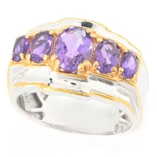 Michael Valitutti Palladium Silver African Amethyst Five-Stone Band Men's Ring