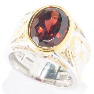 Michael Valitutti Palladium Silver Oval Mozambique Garnet Solitaire Men's Ring