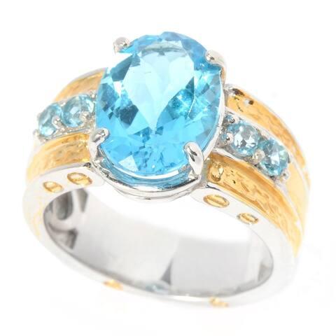Michael Valitutti Palladium Silver Swiss Blue Topaz Screw Detailed Textured Men's Ring