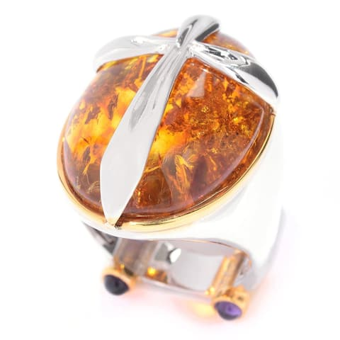 Michael Valitutti Palladium Silver Baltic Amber & African Amethyst Cross Overlay Men's Ring