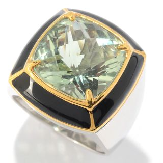 Michael Valitutti Palladium Silver Check Top Montezuma Prasiolite & Enamel Men's Ring