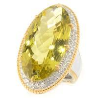Michael Valitutti Palladium Silver Ouro Verde & White Zircon Halo Elongated Ring