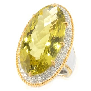Michael Valitutti Palladium Silver Ouro Verde & White Zircon Halo Elongated Ring