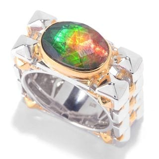 Michael Valitutti Palladium Silver Ammolite Triplet Textured Square Band Men's Ring