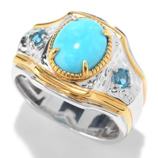 Michael Valitutti Palladium Silver Arizona Turquoise & London Blue Topaz Ring