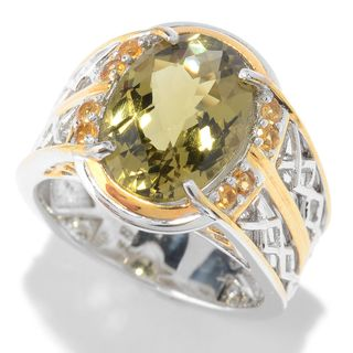 Michael Valitutti Palladium Silver Olive Quartz & Citrine Textured Men's Ring
