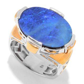 Michael Valitutti Palladium Silver Australian Boulder Opal Doublet Men's Ring
