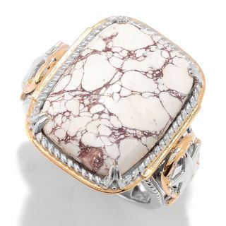 Michael Valitutti Palladium Silver Cushion Shaped White Horse Jasper Men's Ring