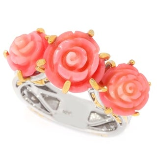Michael Valitutti Palladium Silver Carved Salmon Bamboo Coral Three-Stone Flower Ring