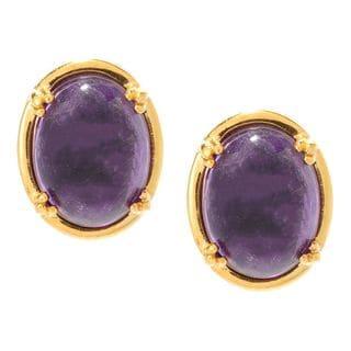 Michael Valitutti Palladium Silver African Amethyst Cabochon Stud Earrings