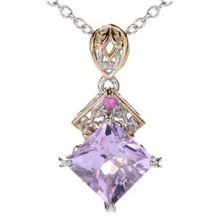 Michael Valitutti Palladium Silver Princess Cut Maraba Pink Amethyst & Dark Pink Sapphire Pendant