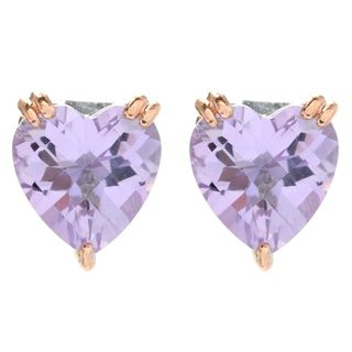 Michael Valitutti Palladium Silver Heart Shaped Pink Amethyst Stud Earrings
