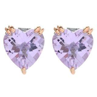 Michael Valitutti Palladium Silver Heart Shaped Pink Amethyst Stud Earrings