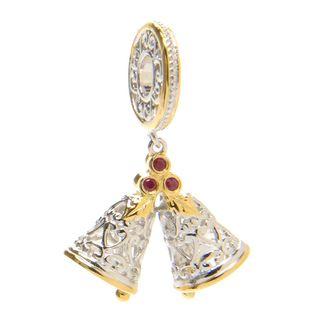 Michael Valitutti Palladium Silver Round Ruby Double Bells Drop Charm