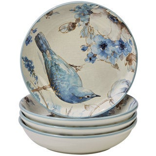 Certified International Indigold Bird White/Blue Ceramic 9.25-inch Soup/Pasta Bowls (Set of 4)