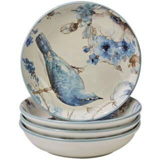 Certified International Indigold Bird White/Blue Ceramic 9.25-inch Soup/Pasta Bowls (Set of 4)