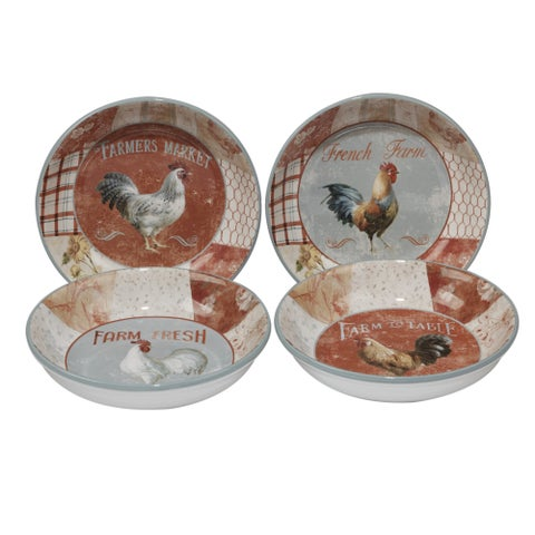 "Certified International Farm House Red/White Ceramic 9.25"" x 2"" Soup Bowl (Pack of 4 Assorted)"