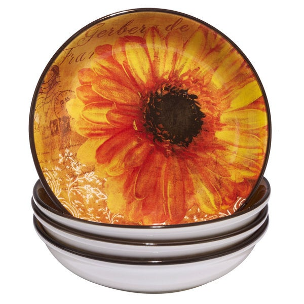 Certified International Gerber Daisy 9.25-inch Soup/ Pasta Bowls (Pack of 4)