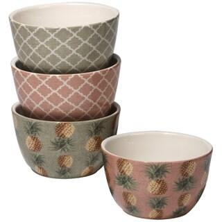 Certified International Floridian Green/ Pink Ceramic Ice Cream Bowls (Set of 4)