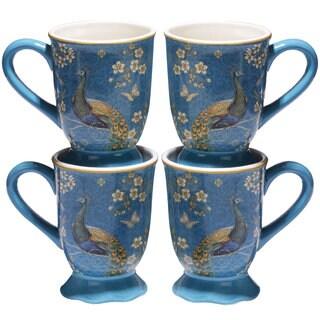 Certified International Exotic Garden Blue Ceramic 18-ounce Mugs (Pack of 4)