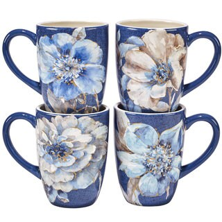 Certified International Indigold Ceramic 22 oz. Flower Mugs (Set of 4 Assorted Designs)