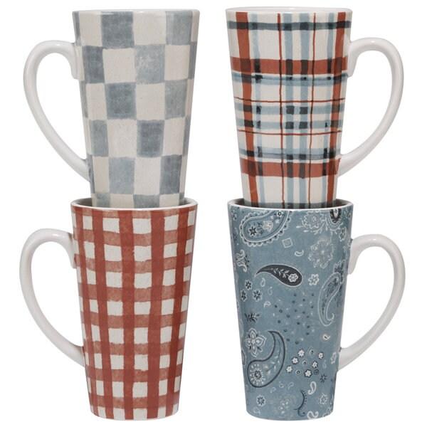 Certified International Farm House Assorted Ceramic 16-ounce Latte Mugs (Pack of 4)