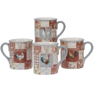 Certified International Farm House Ceramic 16oz. Mugs (Set of 4 Assorted Designs)